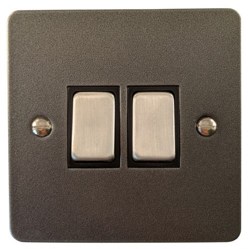 G&H FP302 Flat Plate Pewter 2 Gang 1 or 2 Way Rocker Light Switch